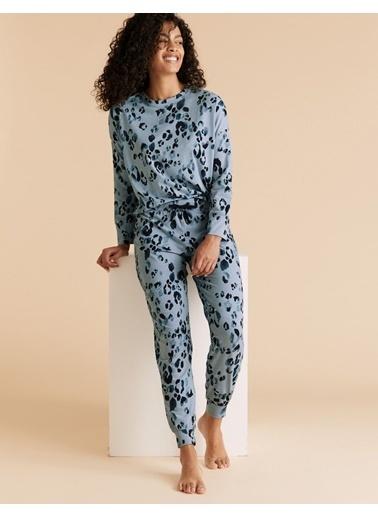 Marks & Spencer Leopar Desenli Pijama Takımı Mavi